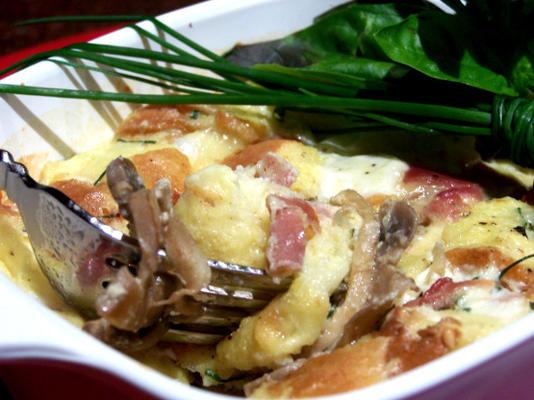 Mushroom and Cheese Strata