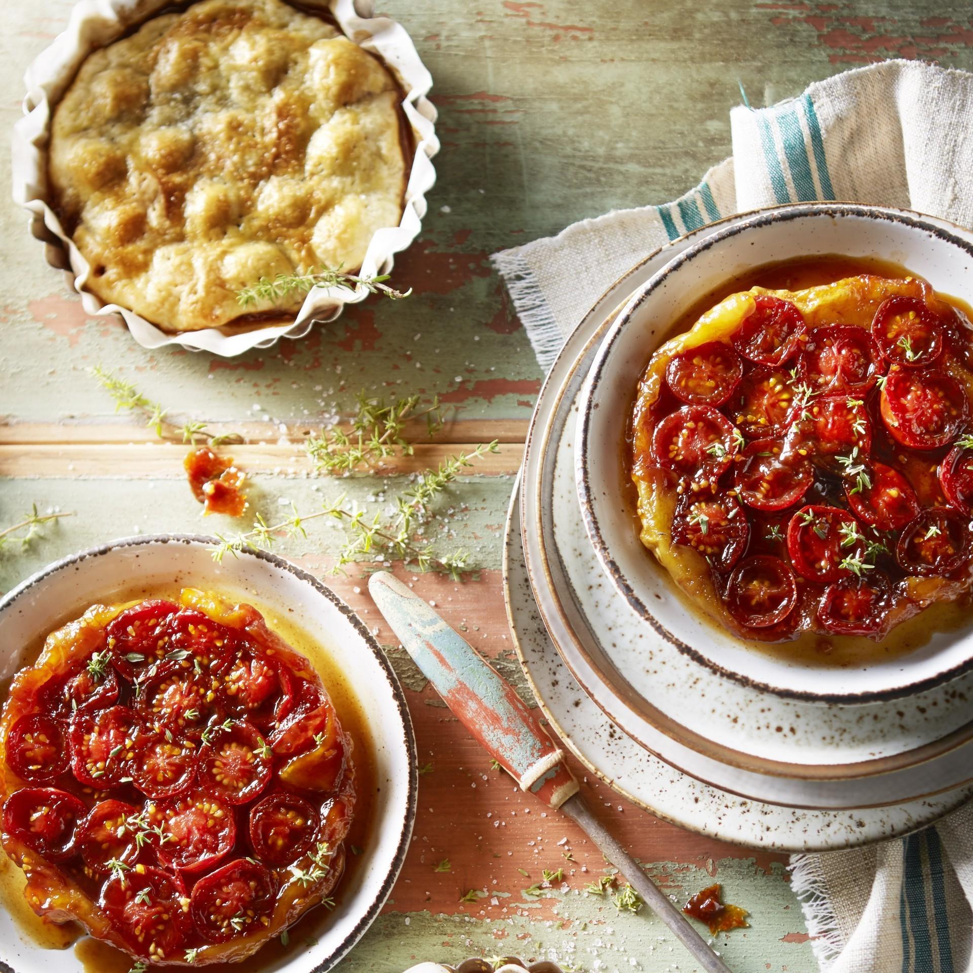 Balsamik sirke ile asma domates tarte tatin