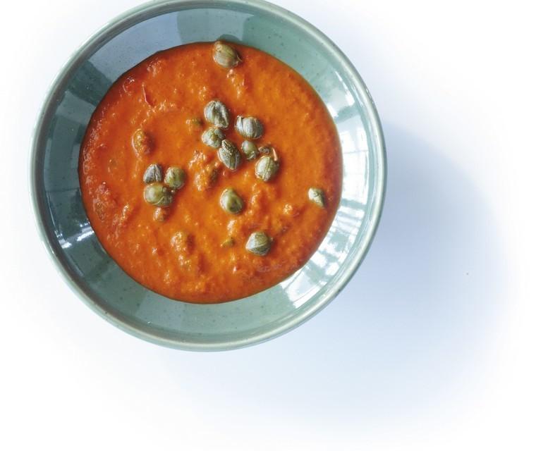 Zeytinyağlı ve baharatlı baharatlı biber sosu