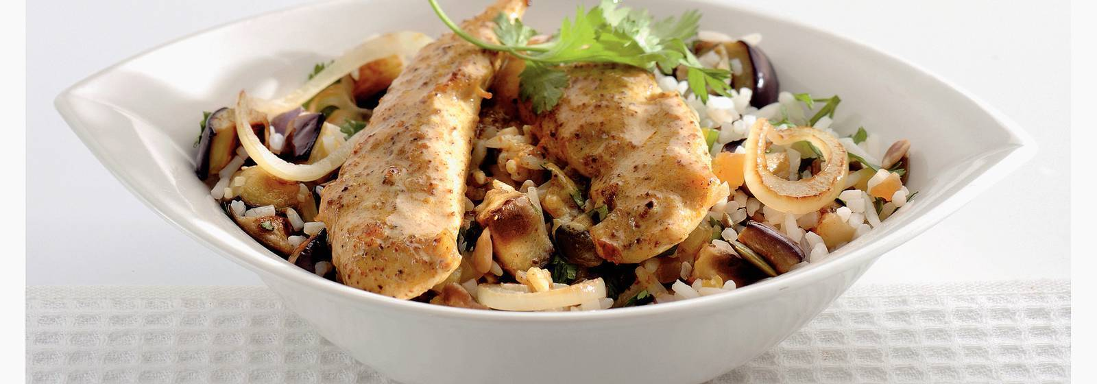 Patlıcan pilavlı tavuk köri