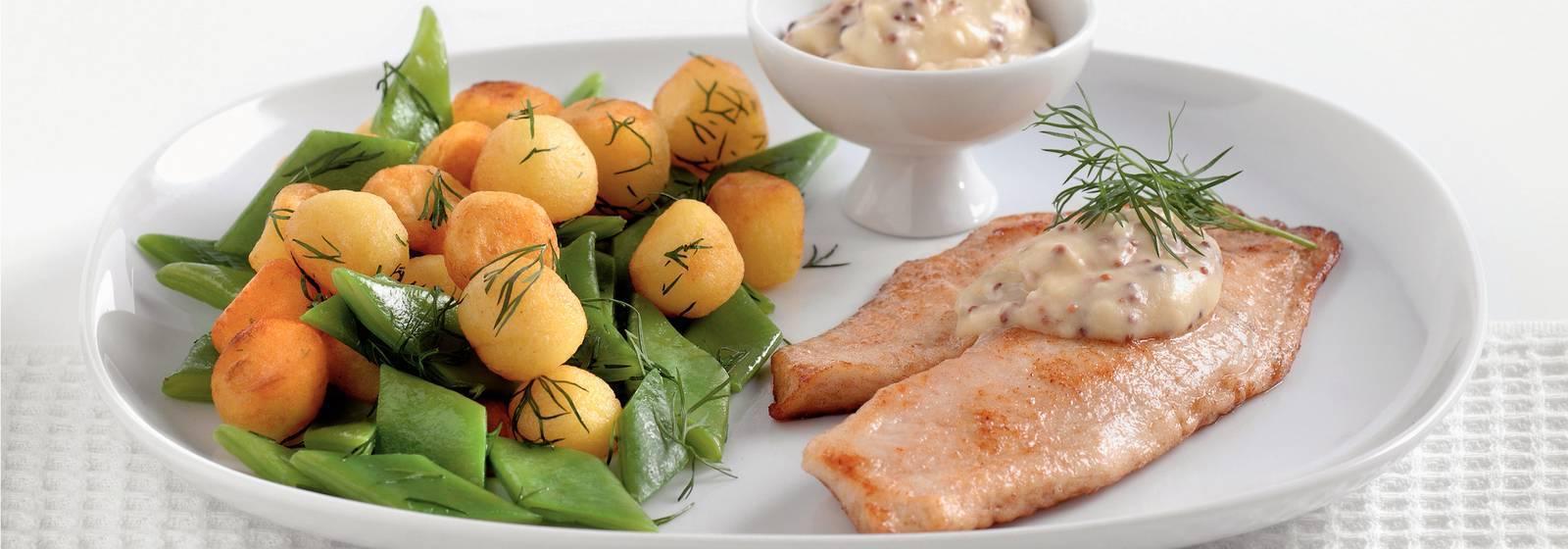Bebek patates ve çalı fasulyesi ile tilapia
